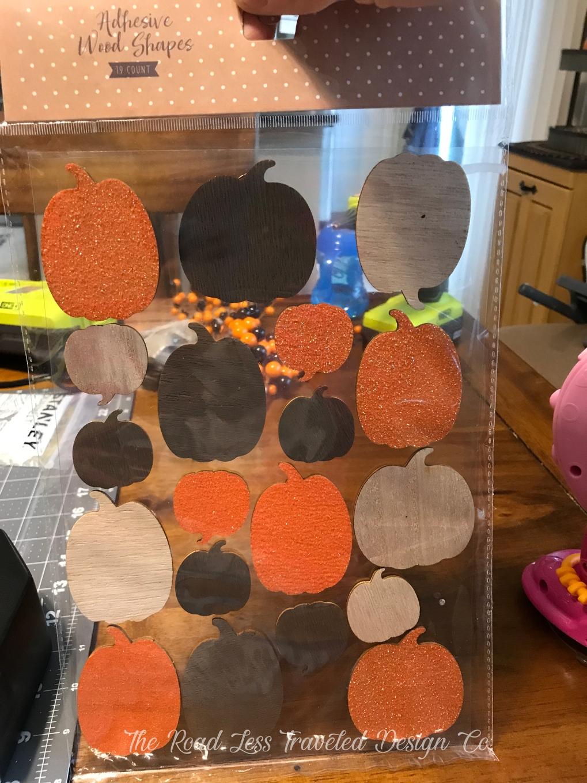 Adhesive Wooden Pumpkins